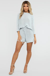Ready To Relax Sweater Romper - Light Blue