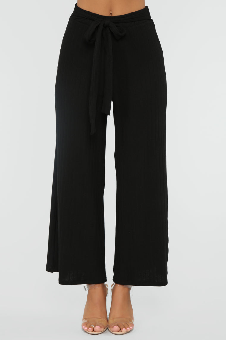 Paper Chase Tie Waist Pants - Black