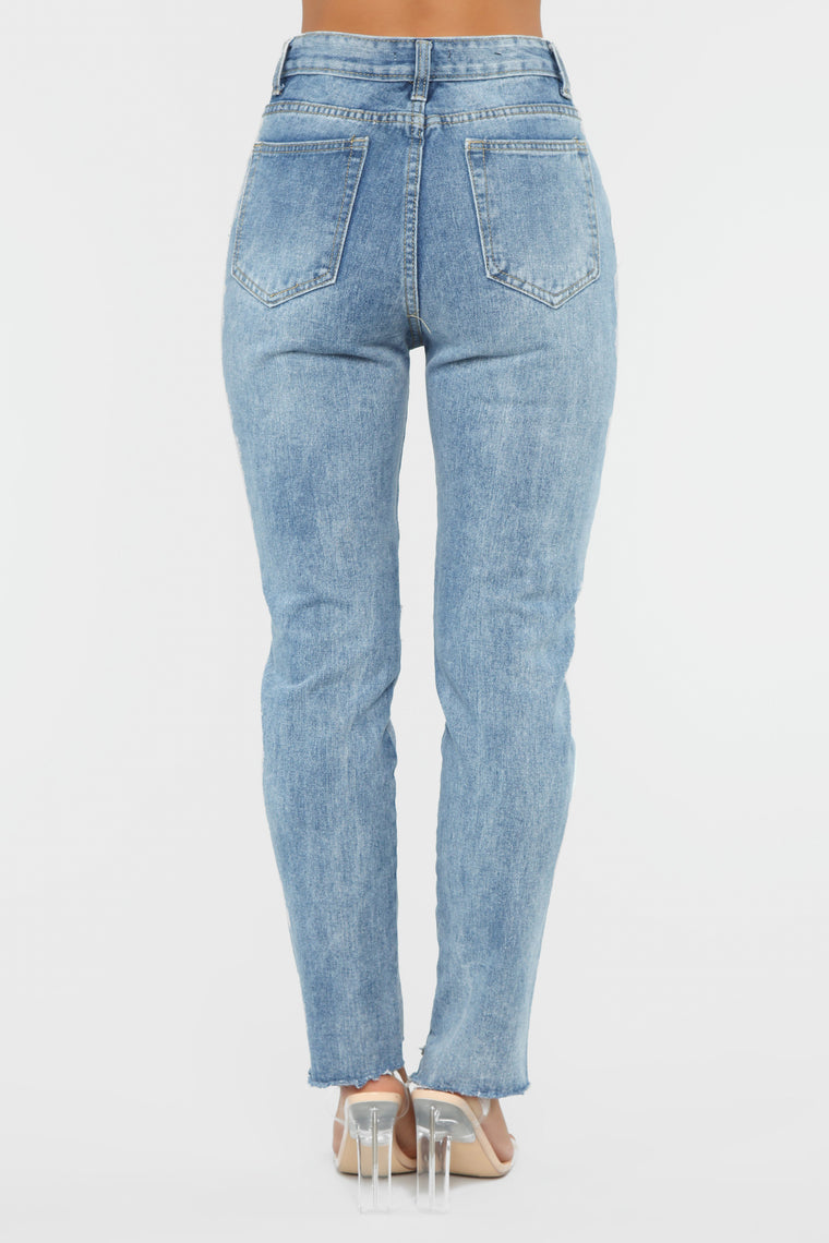 Something Missing Boyfriend Jeans - Medium Blue Wash