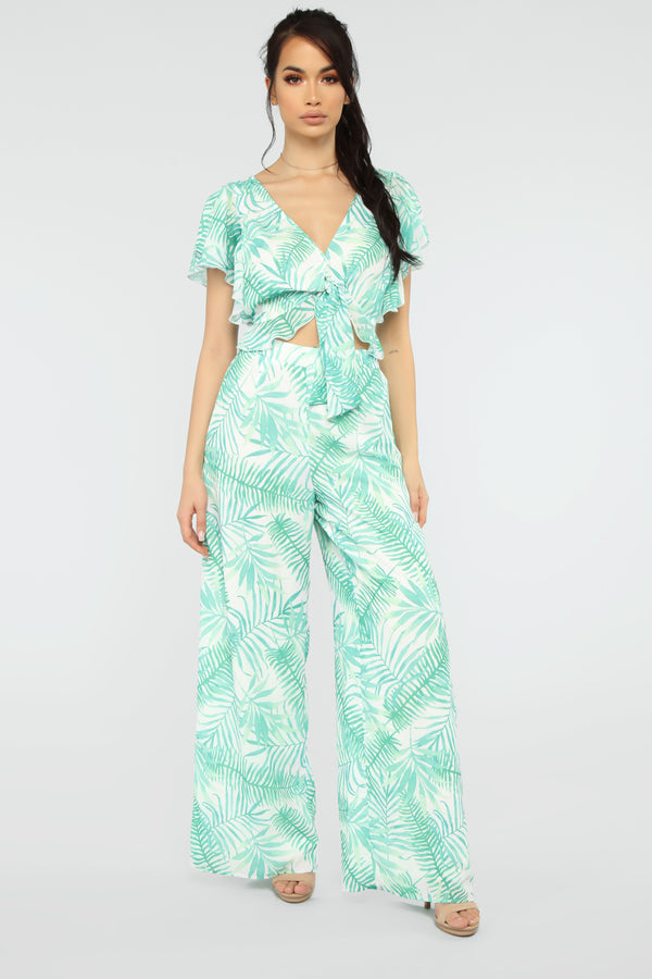 5850a41eba Palm Tree Spree Pant Set - Green