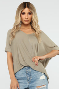 Dream On Short Sleeve Top - Olive Angle 1