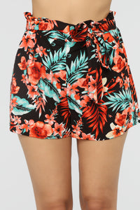 Hawaiian Breeze Tie Waist Shorts - Multi Color