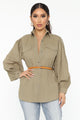 Just In Time Belted Button Down Top - Olive