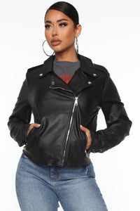 Rexie Vegan Leather Jacket - Black Angle 1