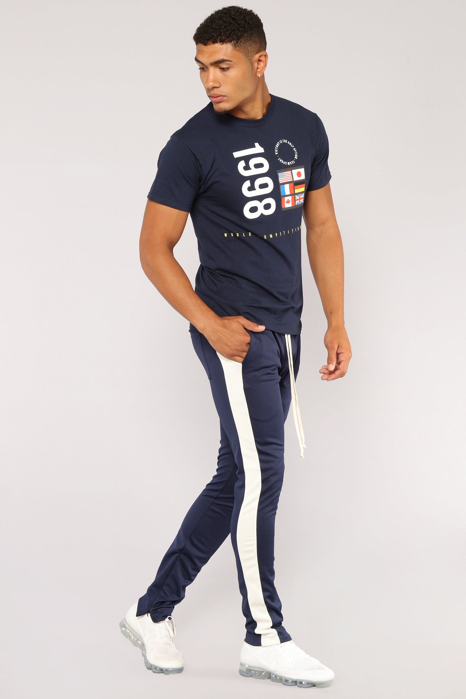 Retro Track Pant Navy Tendencies Chinos Short 28