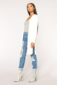 Nita Ribbed Cardigan - Off White