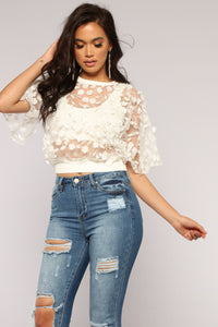 Love And Lace Chiffon Top - Ivory