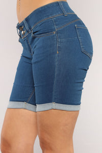 Catalina Booty Lifting Bermuda Shorts - Medium Blue Wash