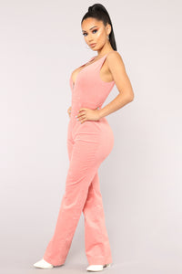Feel The Rhythm Corduroy Jumpsuit - Pink