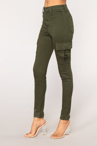 No Backing Down Skinny Jeans - Olive