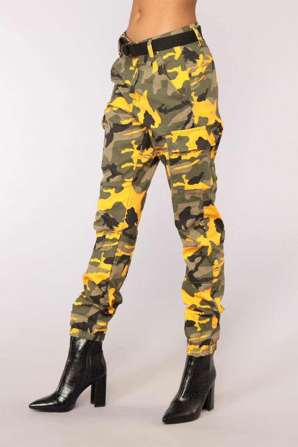 Don't Call Me High Rise Joggers - Yellow Camo