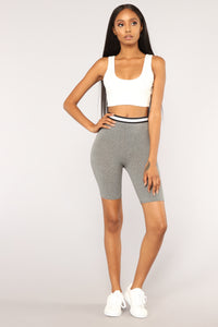 Take It Easy Biker Shorts - Grey