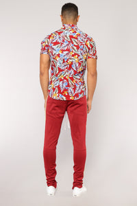 Leo Short Sleeve Woven Top - Red/Combo