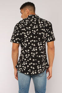 Scott Short Sleeve Woven Top - Black Angle 4
