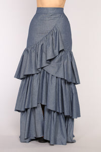 Clarissa Ruffle Skirt - Dark Denim