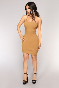 Ribbed And Famous One Shoulder Dress - Mustard