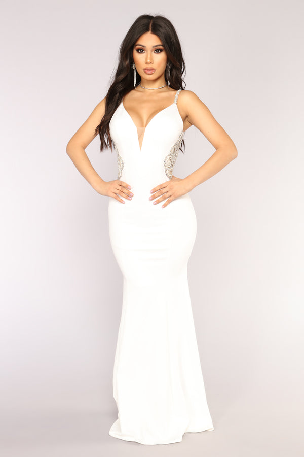 152429135534f Imperial Beading Dress - Off White