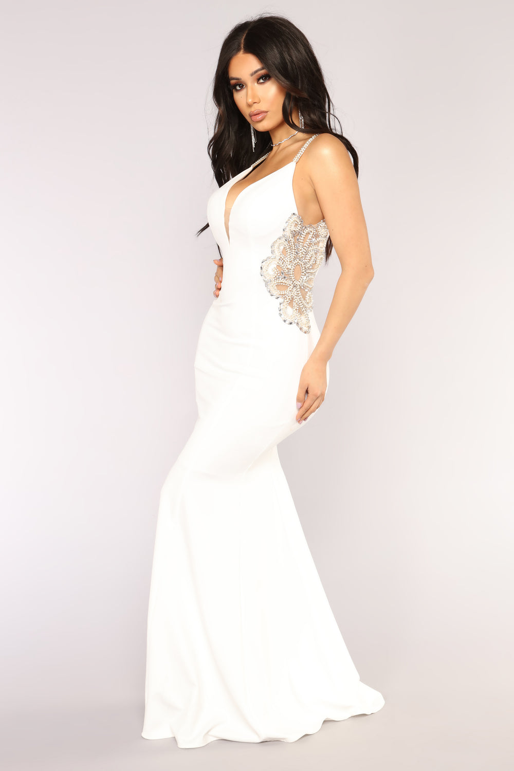 Imperial Beading Dress - Off White
