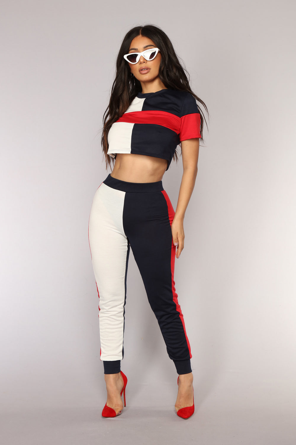 Tanisha Athleisure Set - Navy/Red