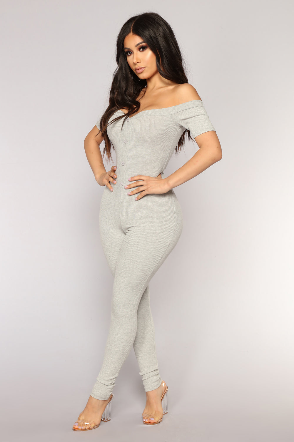 Foolish Ribbed Jumpsuit - Grey