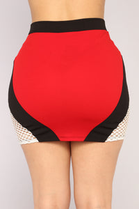 Meshing With Love Mini Skirt - Red