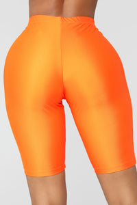 Curves For Days Biker Shorts - Orange Angle 6