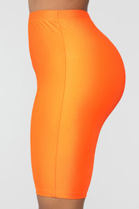 Curves For Days Biker Shorts - Orange Angle 5