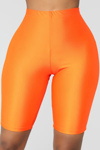 Curves For Days Biker Shorts - Orange Angle 1