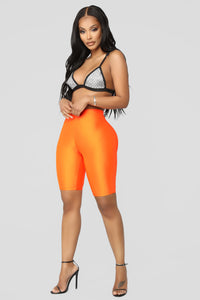 Curves For Days Biker Shorts - Orange Angle 4