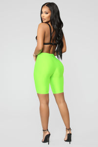 Curves For Days Biker Shorts - Neon Green Angle 5