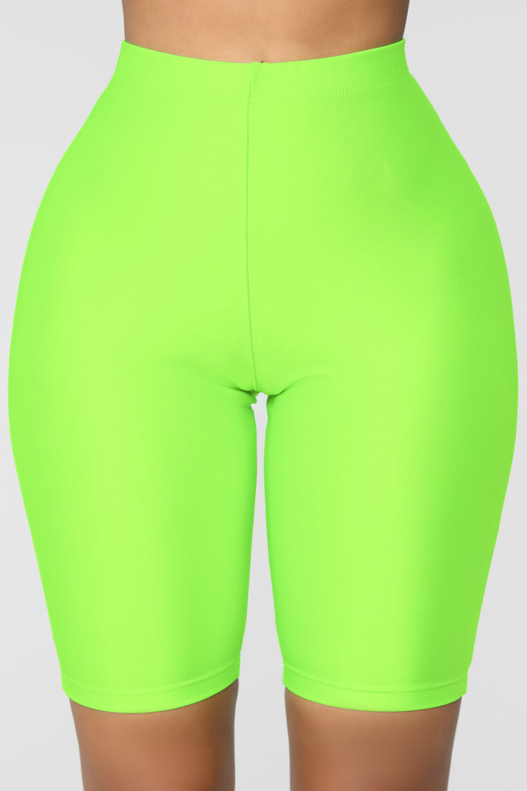 Curves For Days Biker Shorts - Neon Green
