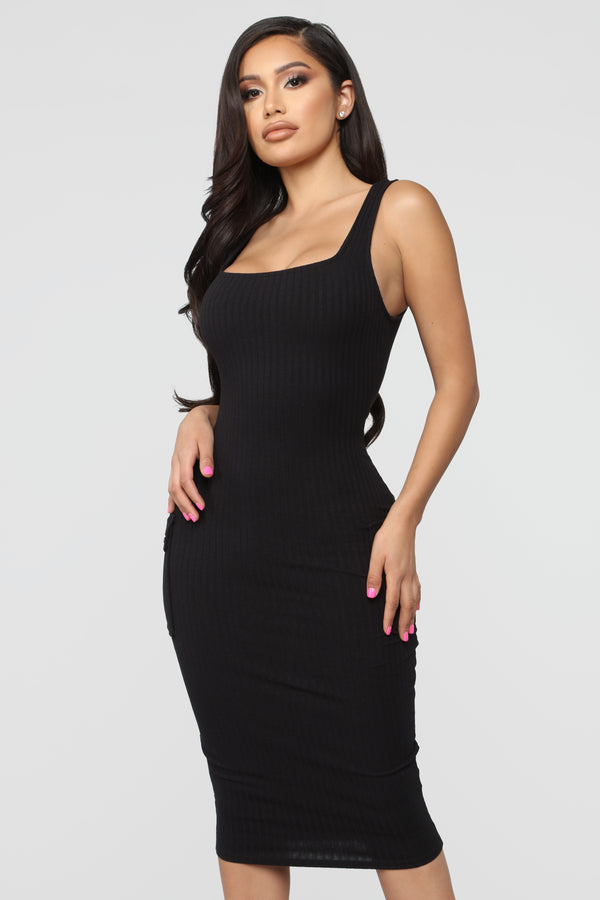 Out Of My Control Midi Dress - Black bbe2cb513
