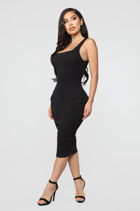 Out Of My Control Midi Dress - Black Angle 3
