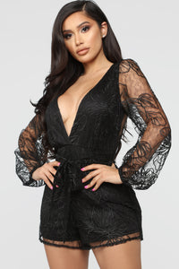 Eileen Embroidered Romper - Black