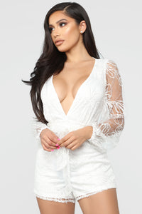 Eileen Embroidered Romper - White Angle 1