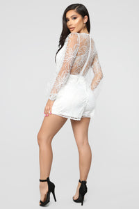 Eileen Embroidered Romper - White Angle 4