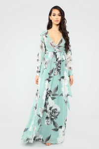 Hana Floral Dress - Mint/Multi Angle 1