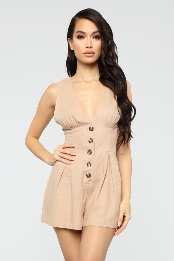 b80ce02268f Tell Me Something New Romper - Taupe