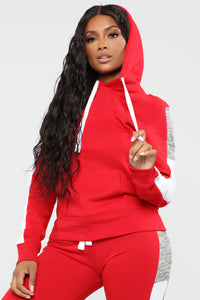 Analissa Pullover Hoodie - Red Angle 3