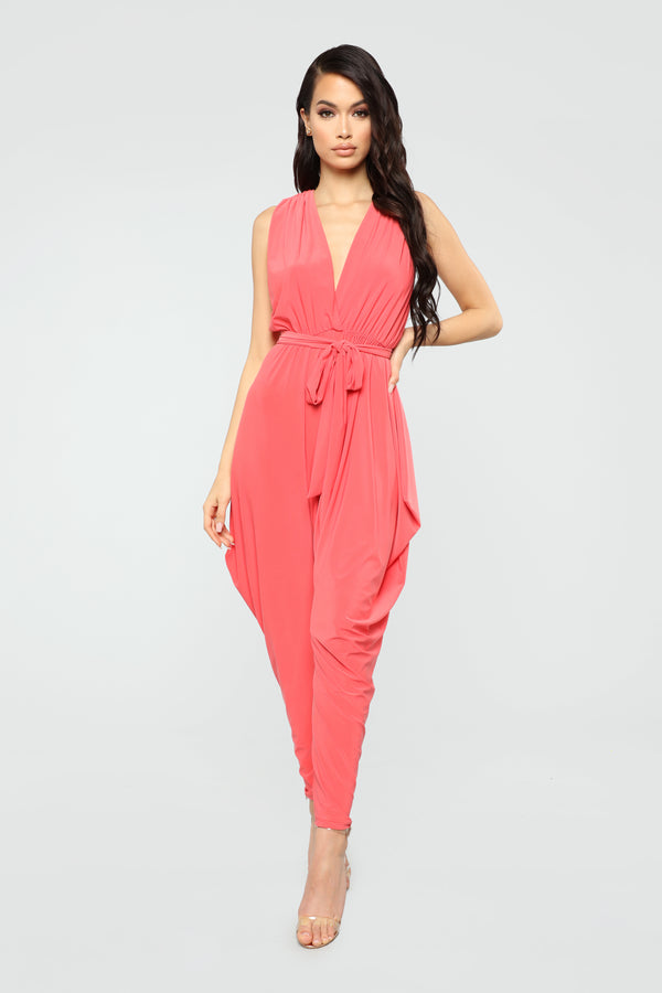 6a261a29f1 Queen Of All Harem Jumpsuit - Coral