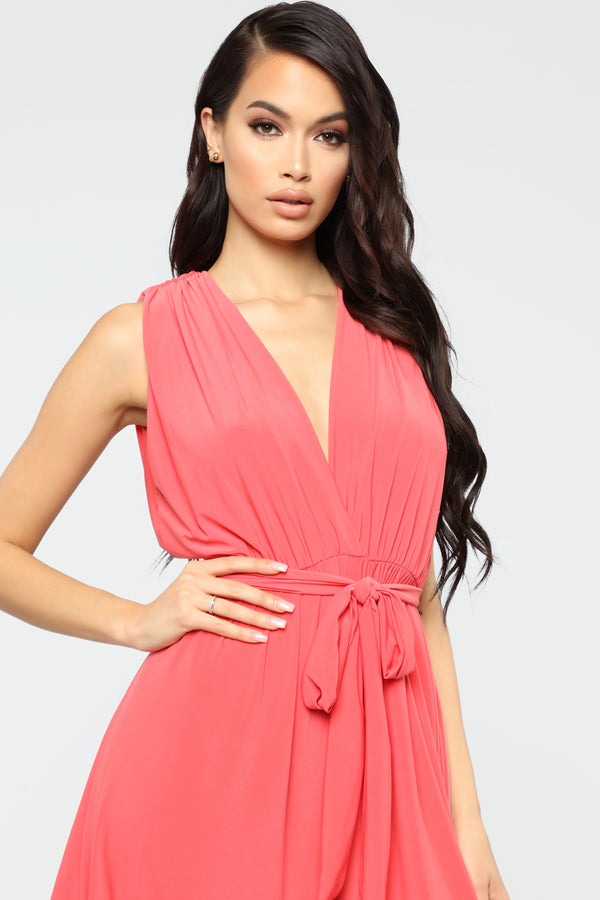 0f859ad8a07 Queen Of All Harem Jumpsuit - Coral