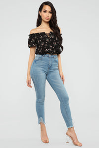 Floral Dynasty Off Shoulder Top - Black Angle 2