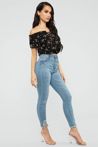 Floral Dynasty Off Shoulder Top - Black Angle 4
