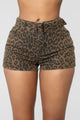 Nice Kitty High Rise Denim Shorts - Leopard