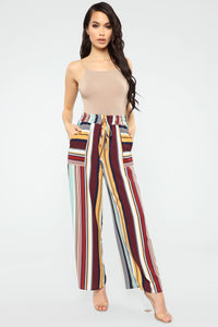 Miami Stripes Flare Pants - Teal