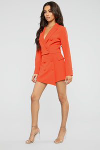 Head Babe In Charge Blazer Set - Orange