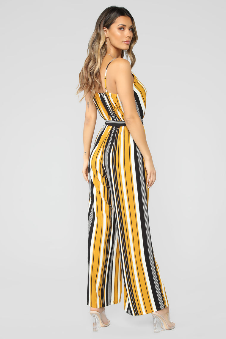 Many Moods Stripe Jumpsuit - Mustard/Black