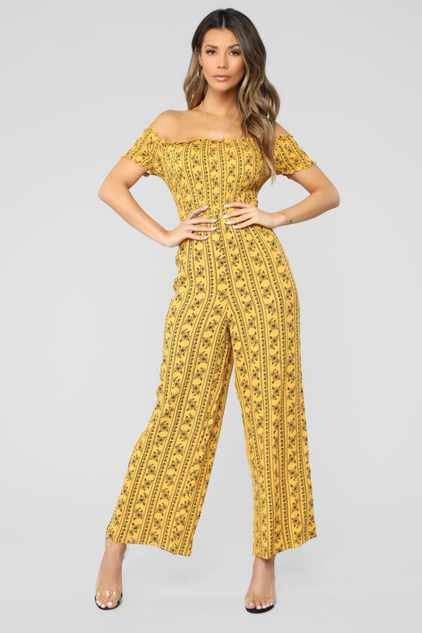 9a7f83cbc3f7 Perfect Mate Off Shoulder Jumpsuit - Mustard Black
