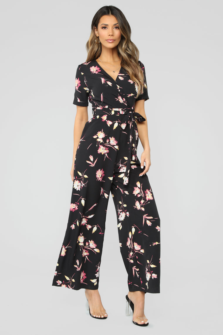 Amused By You Floral Jumpsuit - Black/Combo