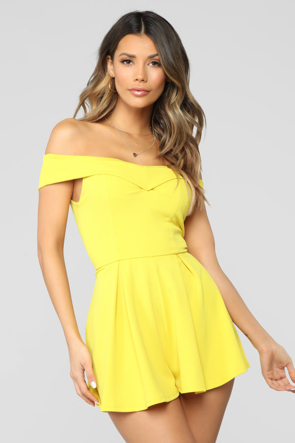 041b74208 Off The Top Off Shoulder Romper - Lime Yellow